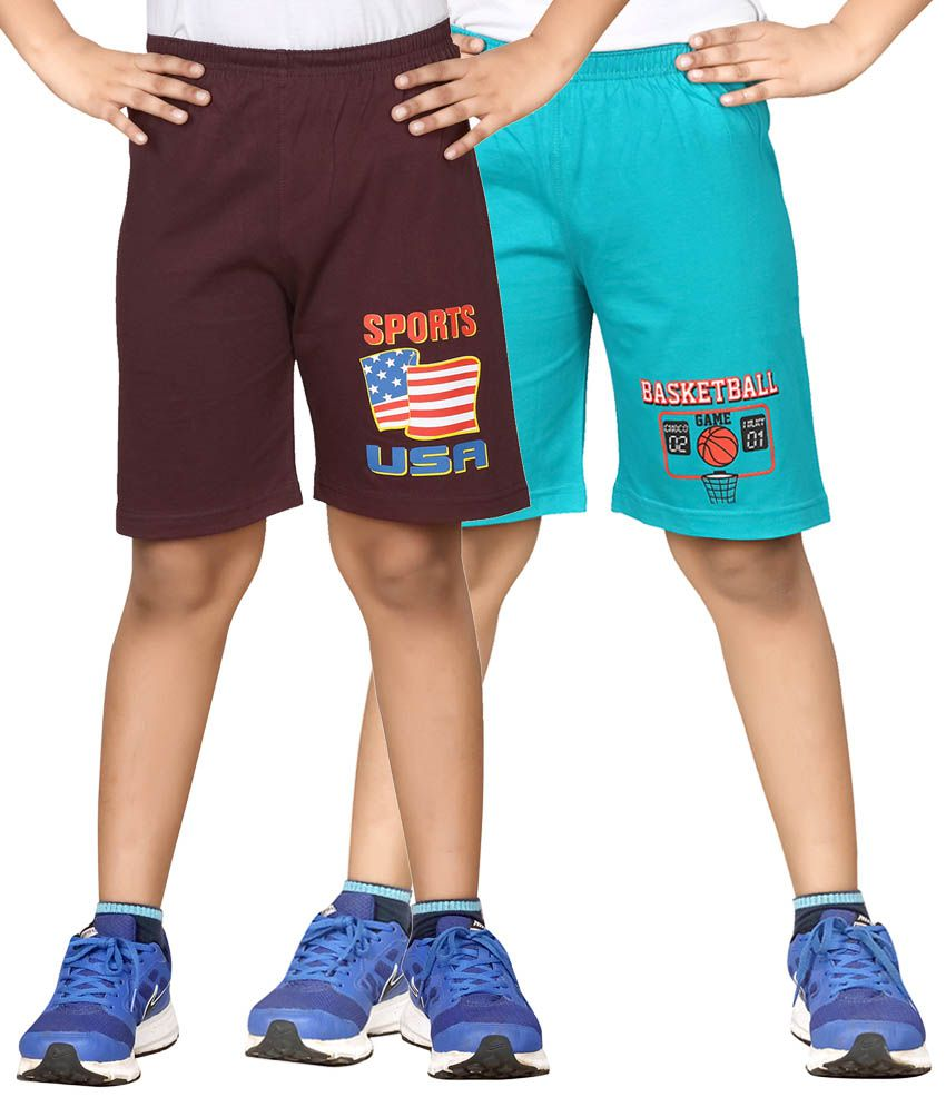Dongli Brown & Blue Shorts For Boys Set Of 2