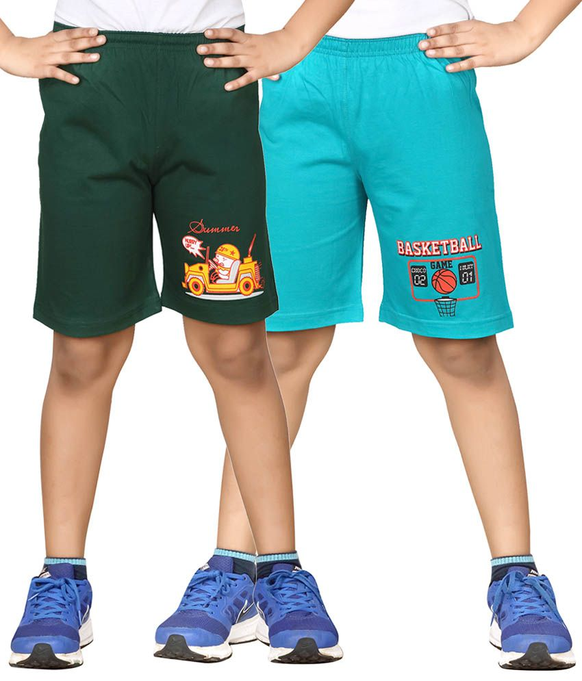 Dongli Green & Blue Shorts For Boys Set Of 2