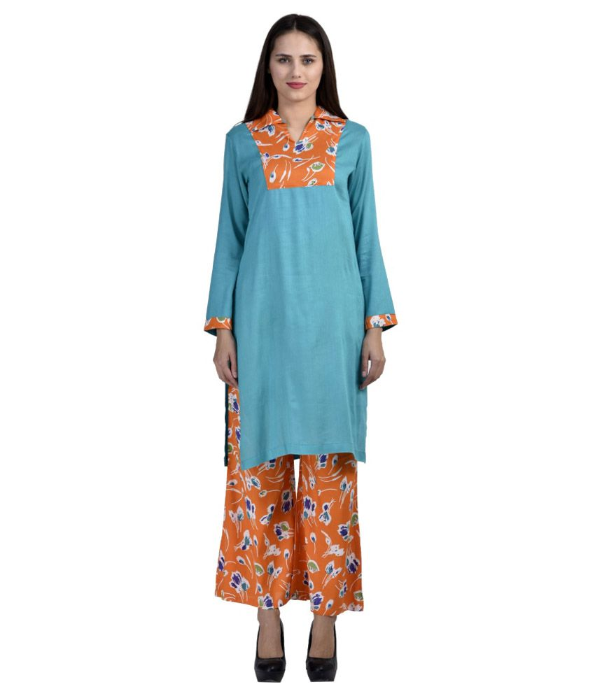 Fab Exclusive Turquoise Straight Poly Rayon Kurti