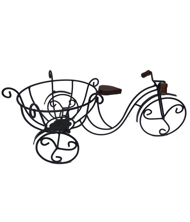 Handicraft Iron Fruit Basket - Black