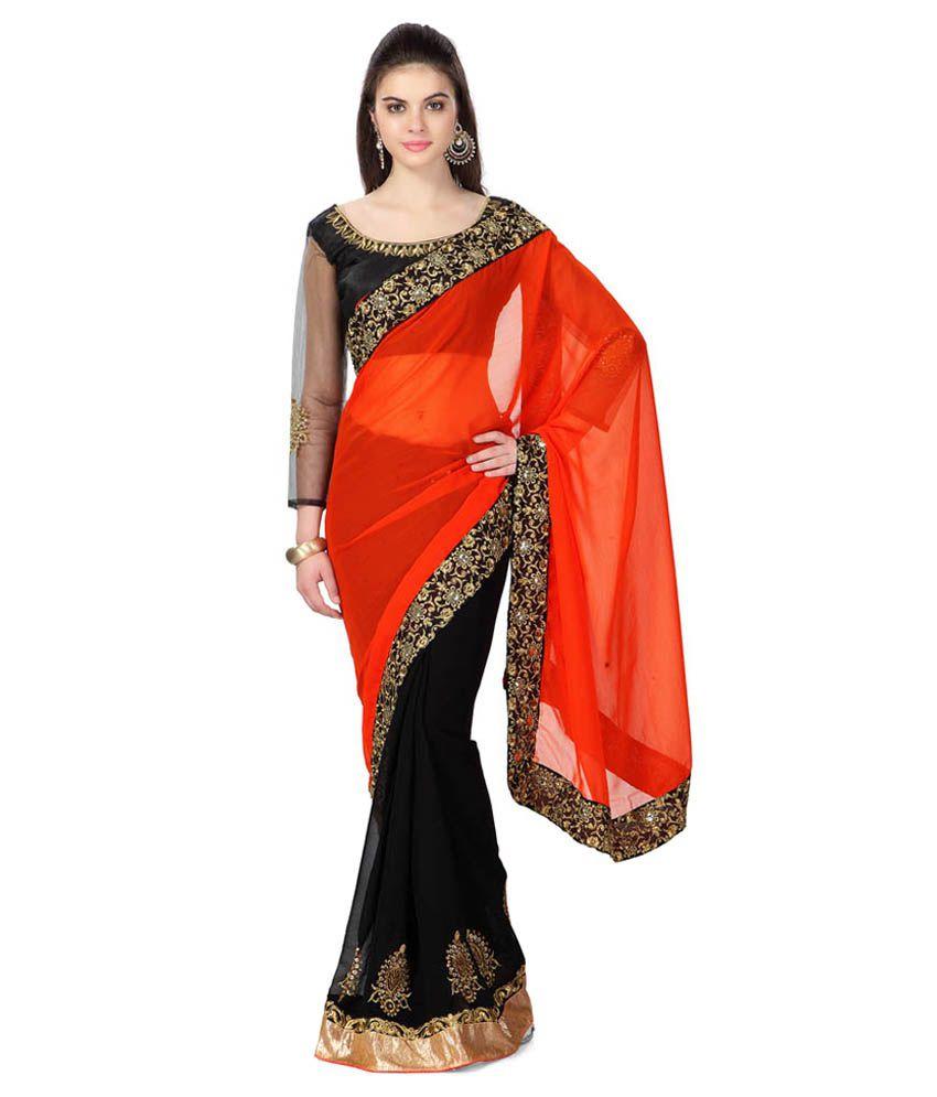 Exclusive Designer Designer Orange & Black Color Georgette Saree