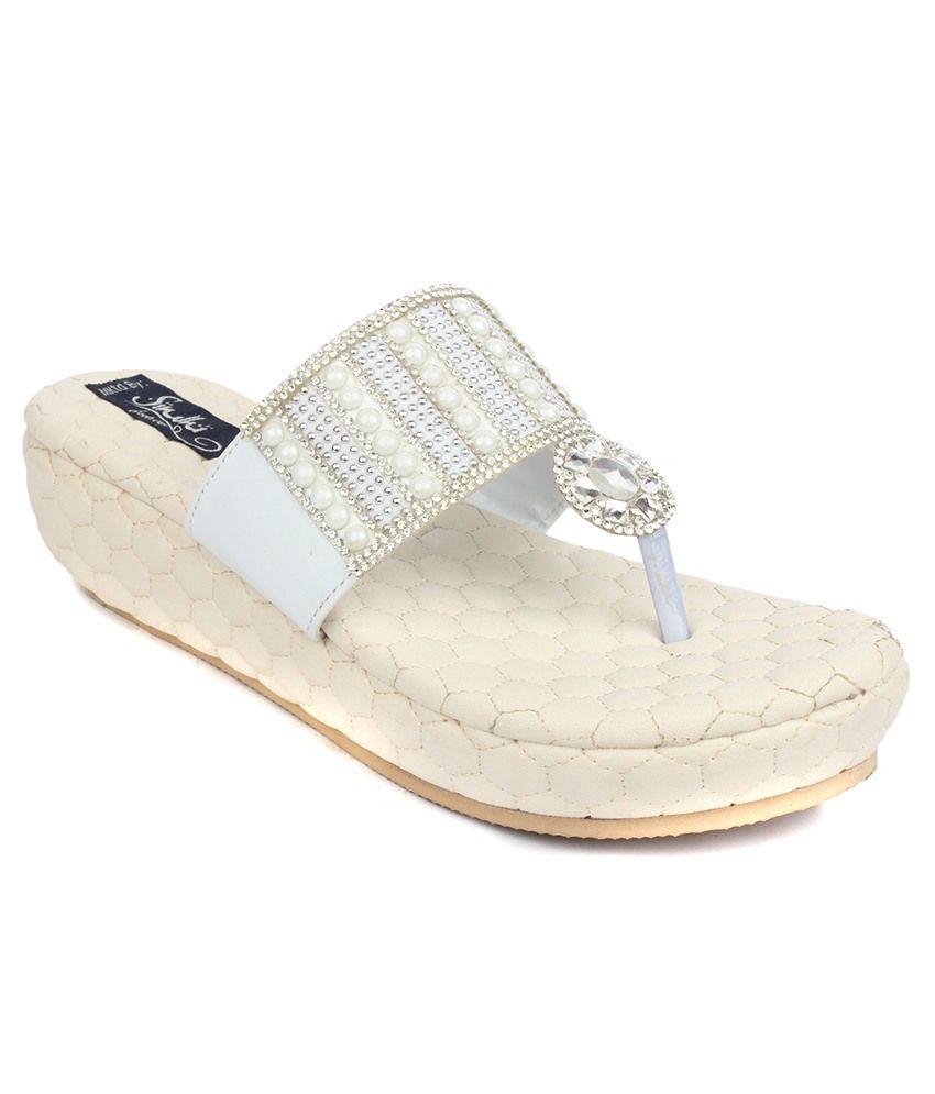 Sindhi Footwear Silver Wedges Heels