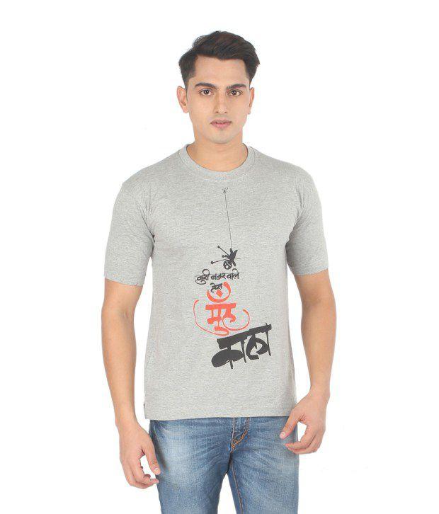 Sabudana Boori Nazar Grey Cotton Half Sleeves Men T -shirt