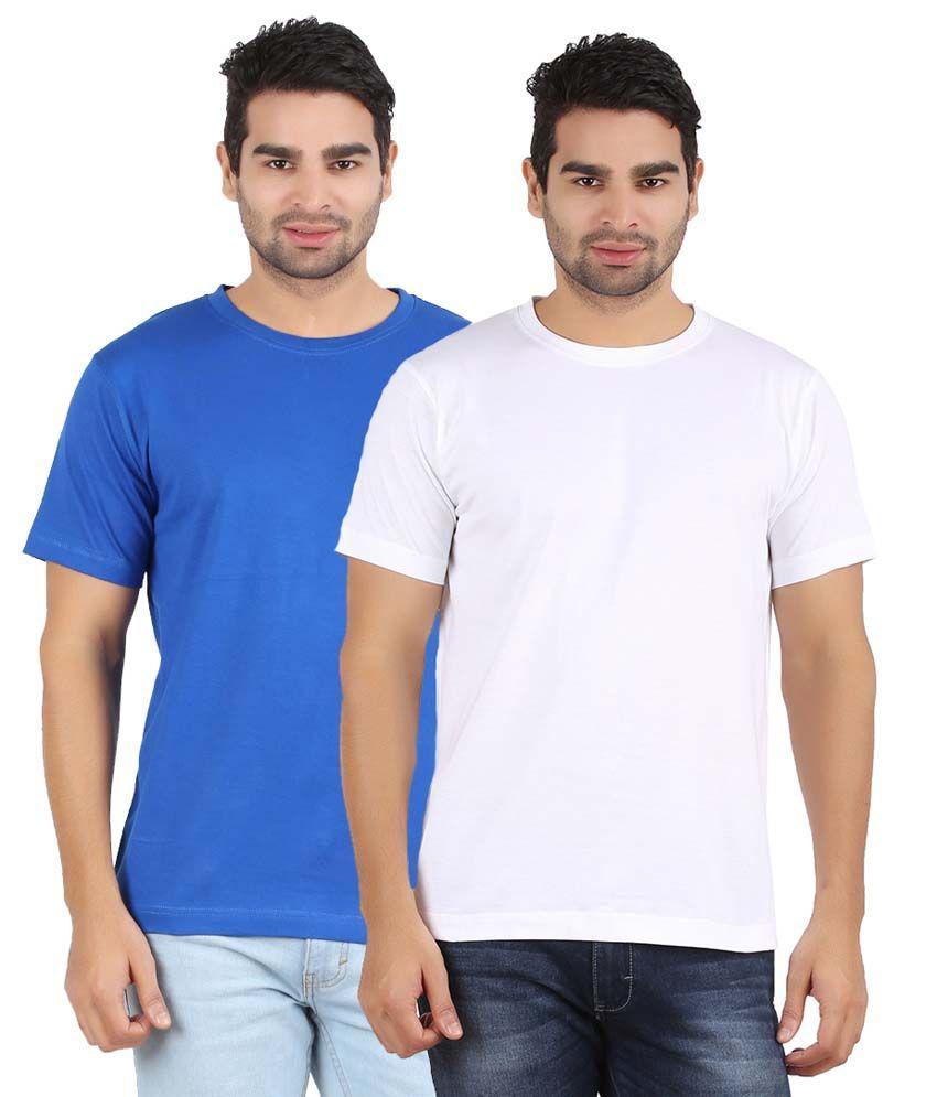 Evangeline Blue & White Cottont T-shirt Pack Of 2