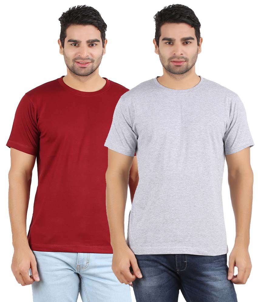 Evangeline Maroon & Gray Cottont T-shirt Pack Of 2