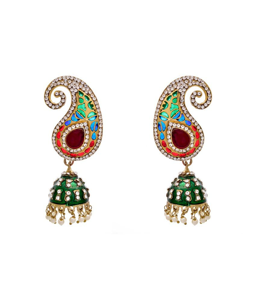 Jfl - Jewellery For Less Multi Gold Plated Jhumkis
