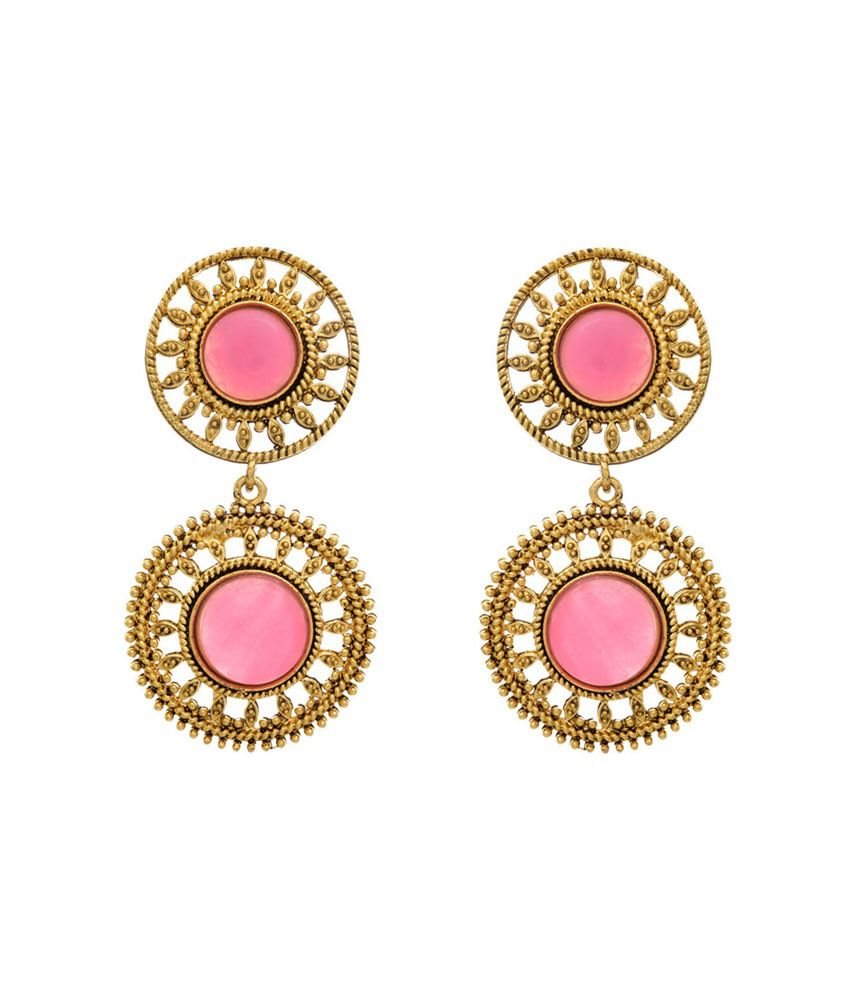 Jfl - Jewellery For Less Pink Gold Plated Hanging Earrings