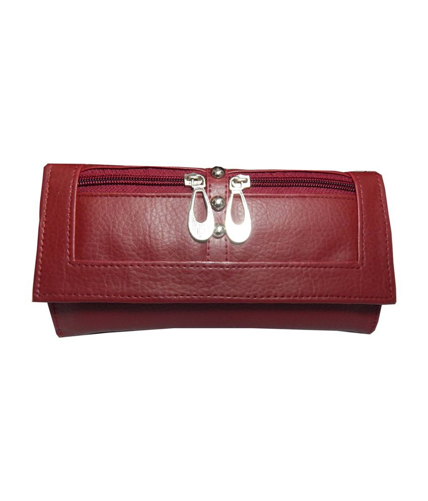 Navaksha Maroon Designer Non Leather Regular Wallet