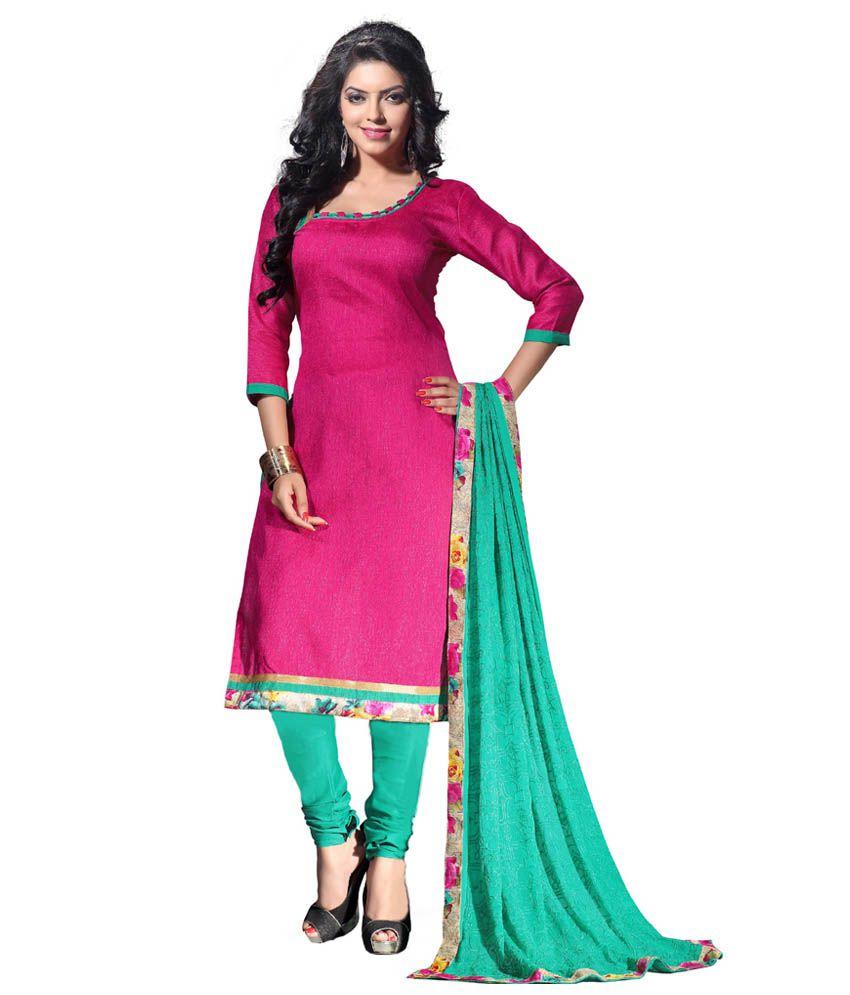 Vismay Pink Khadi Unstitched Dress Material