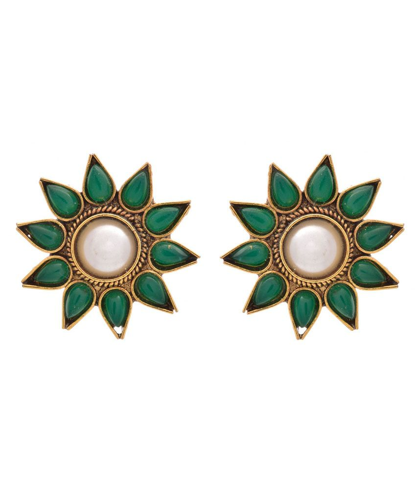 Jfl - Jewellery For Less Green And White Gold Plated Stud Earrings