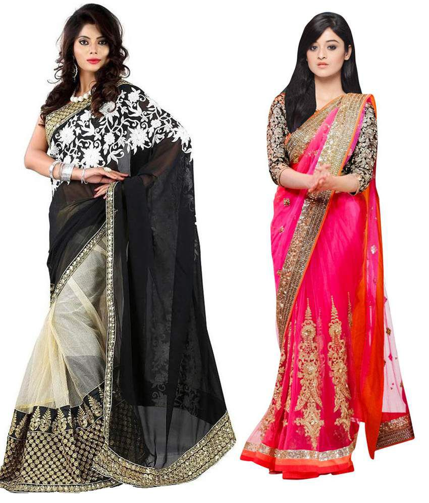 Rk Fashion Multicolor Faux Georgette Pack Of 2