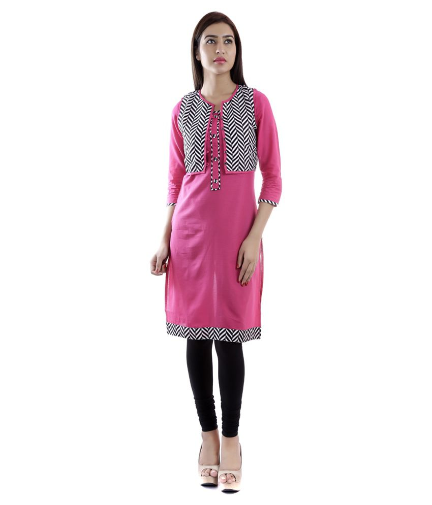 Vasudha Pink Straight Cotton Kurti