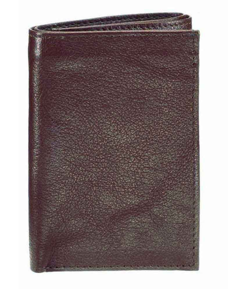 WalletsnBags Dark Brown Tri-Fold Wallet