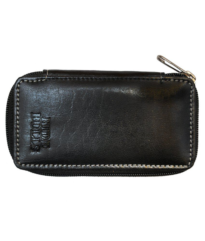 Hide Bulls Black Leather Key Chain Pouch