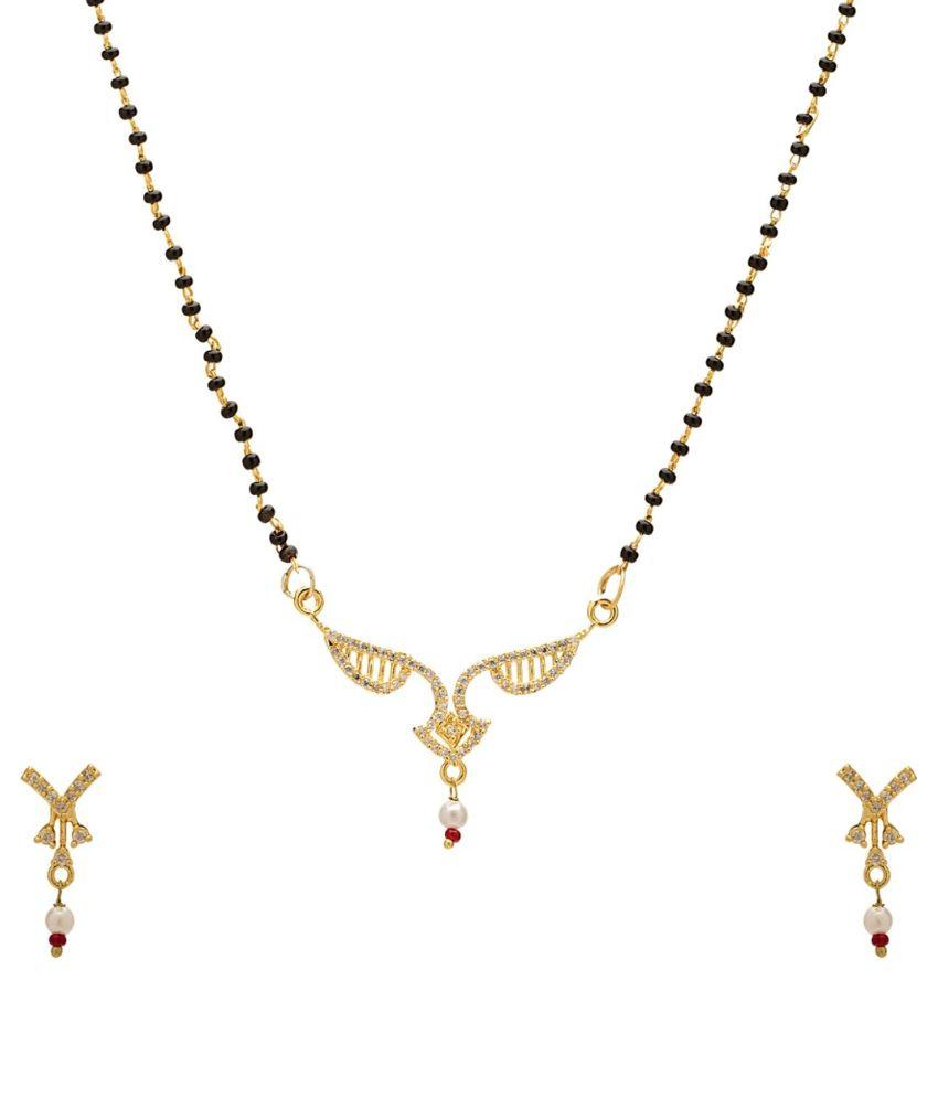 Peenzone Golden Brass Mangalsutra Set