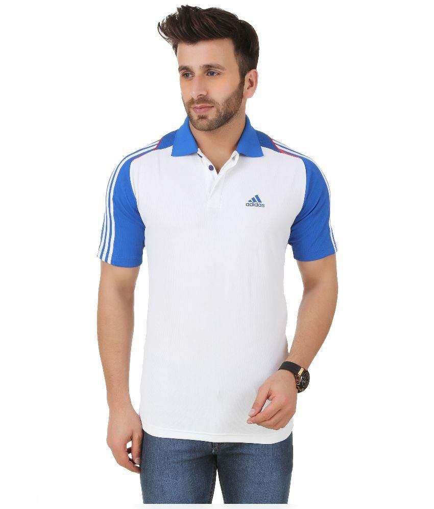 Adidas White and Blue Polo T-Shirt