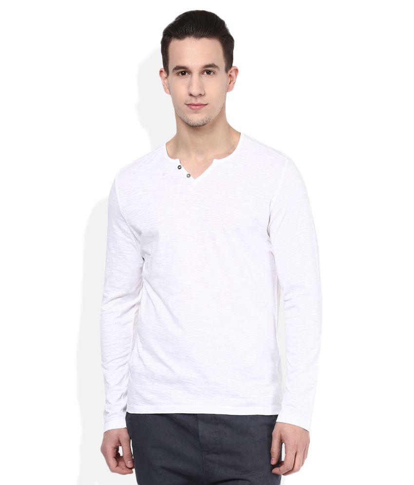 Celio White V-Neck T Shirt
