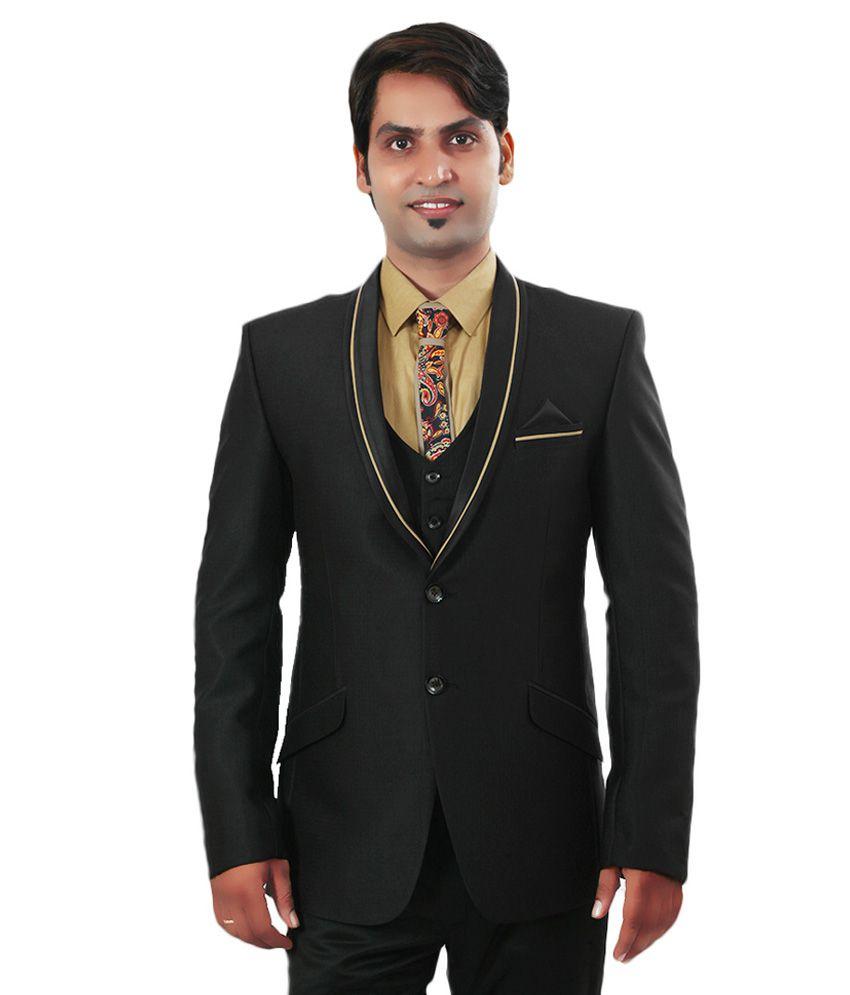Ethnic Monarch Black Polyester Tuxedo Blazer