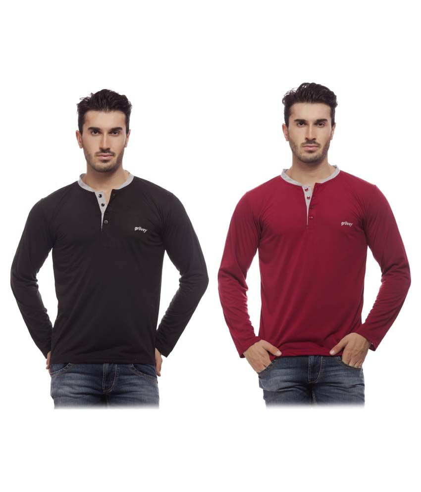 Grovey Black & Mahroon Henley T Shirt Pack Of 2