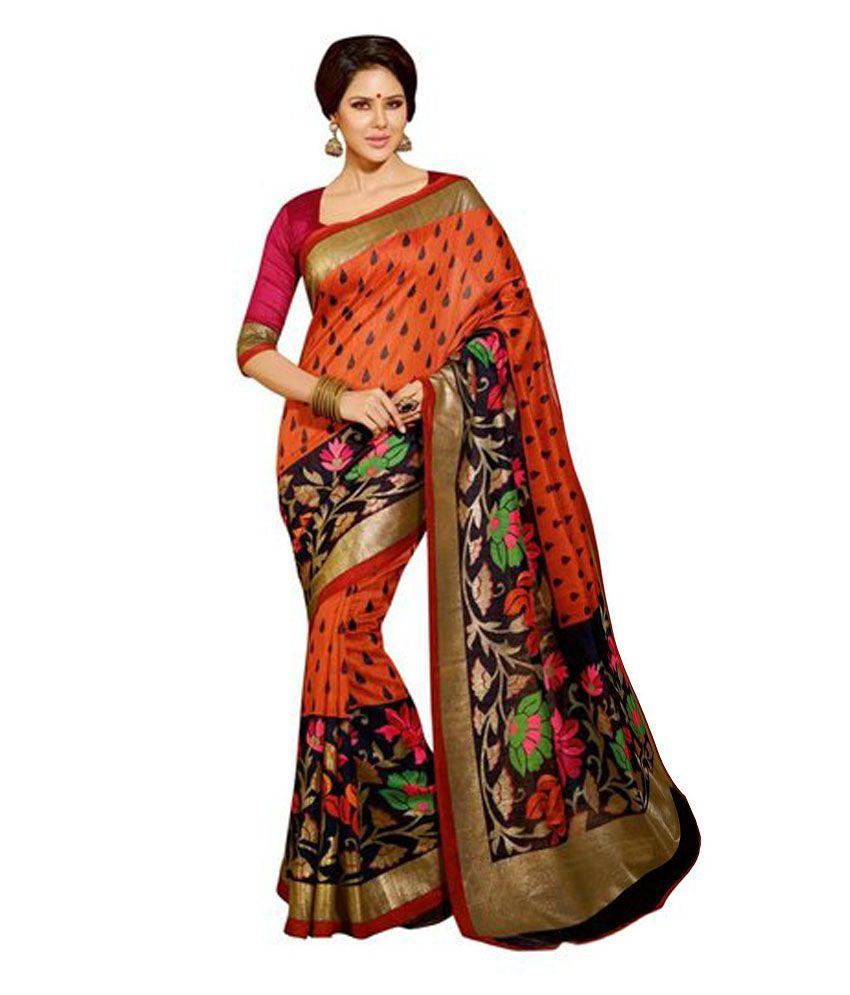 4ae8f203d Madhu Designer Sarees Orange Mysore Silk Saree - Buy Madhu Designer Sarees  Orange Mysore Silk Saree Online at Low Price - Snapdeal.com