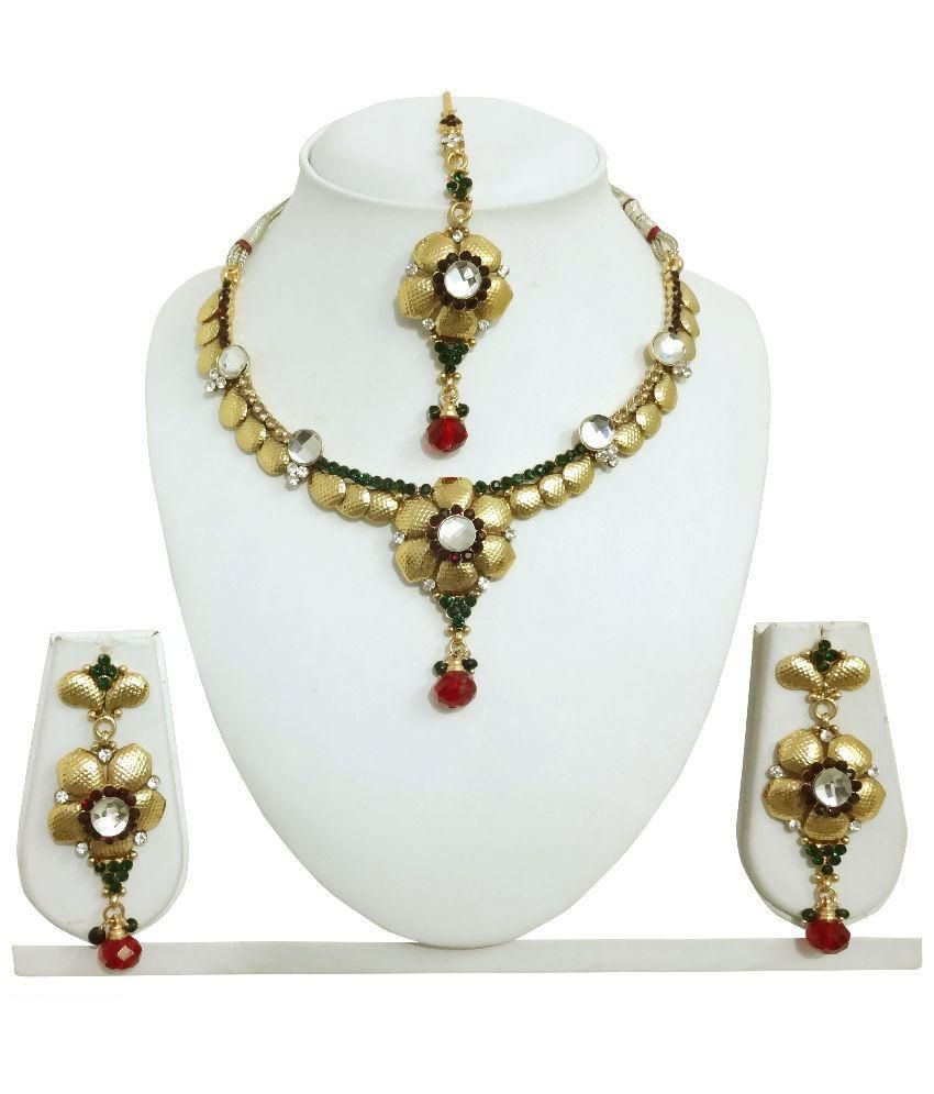 Arts Chetan Golden Necklace Set with Maang Tika