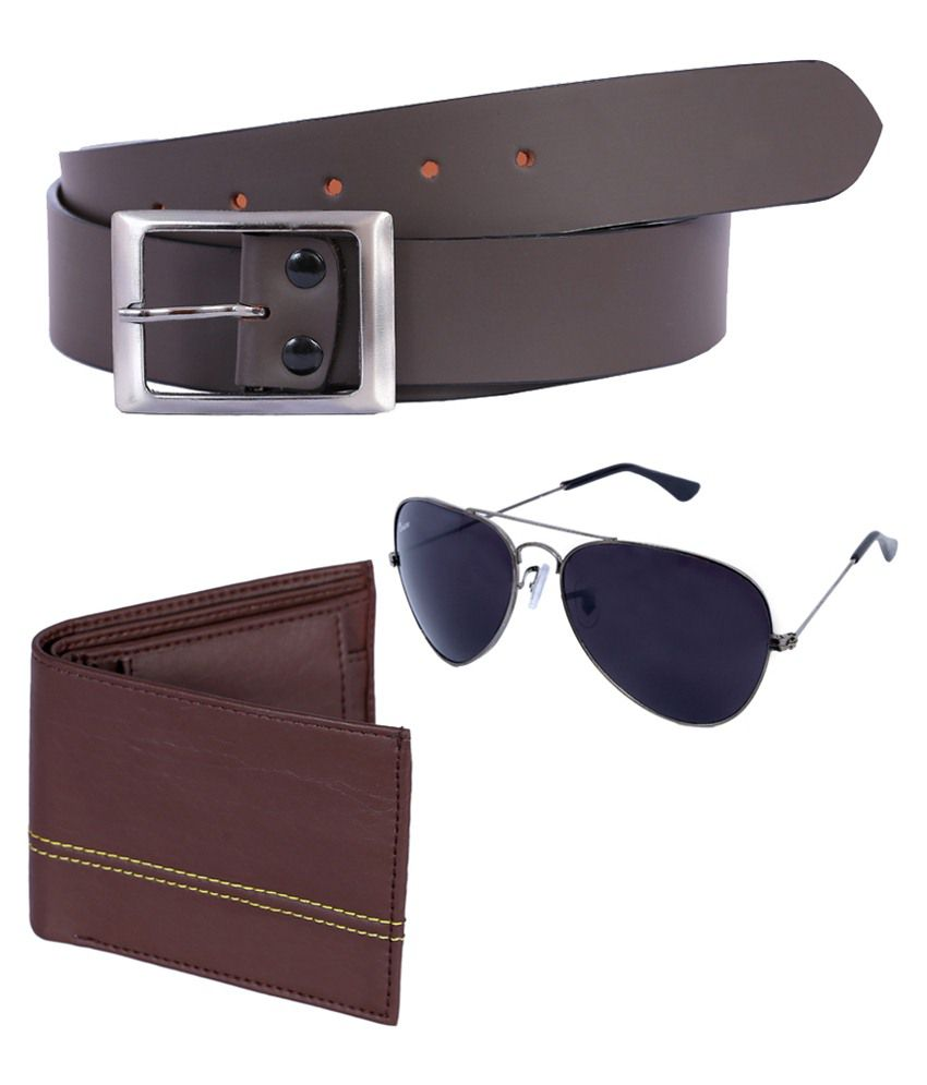 Kritika World Brown Leather Belt With Wallet & Sunglasses For Men