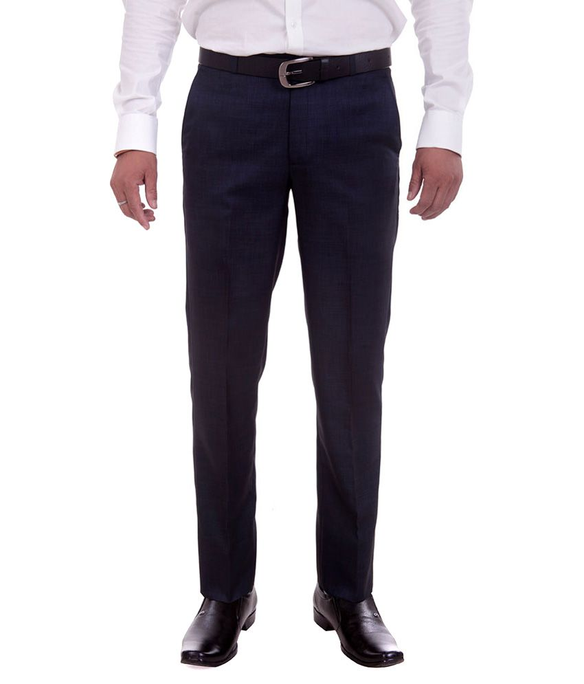 Numerics Black Regular Fit Flat Trouser