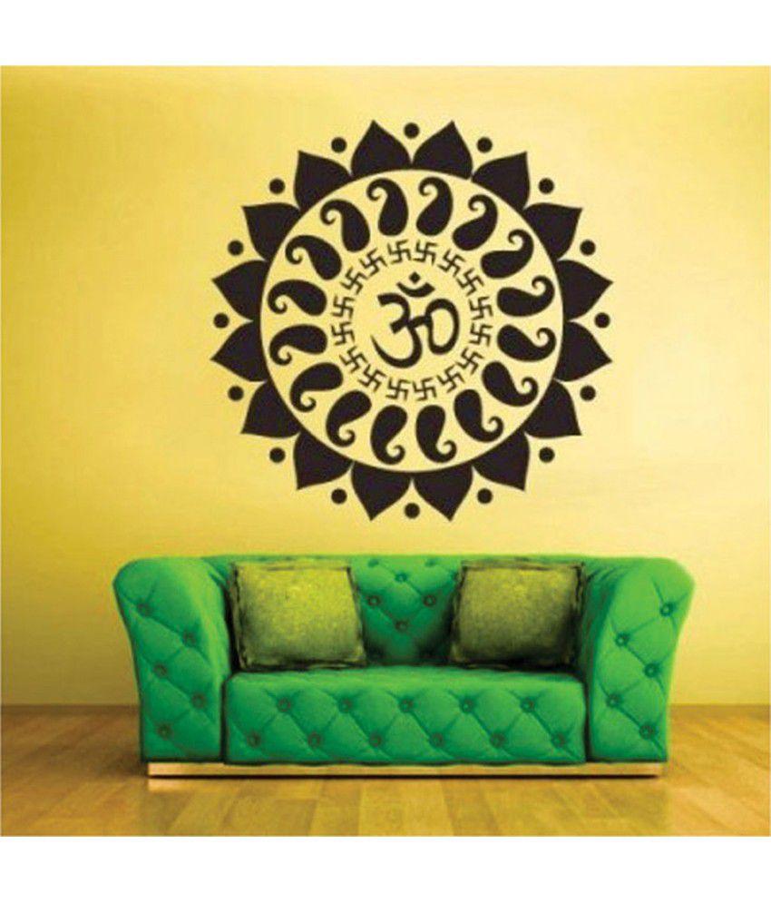 Stickerskart Black Vinyl Pooja Room Religious Symbol Mystic Om Wall ...