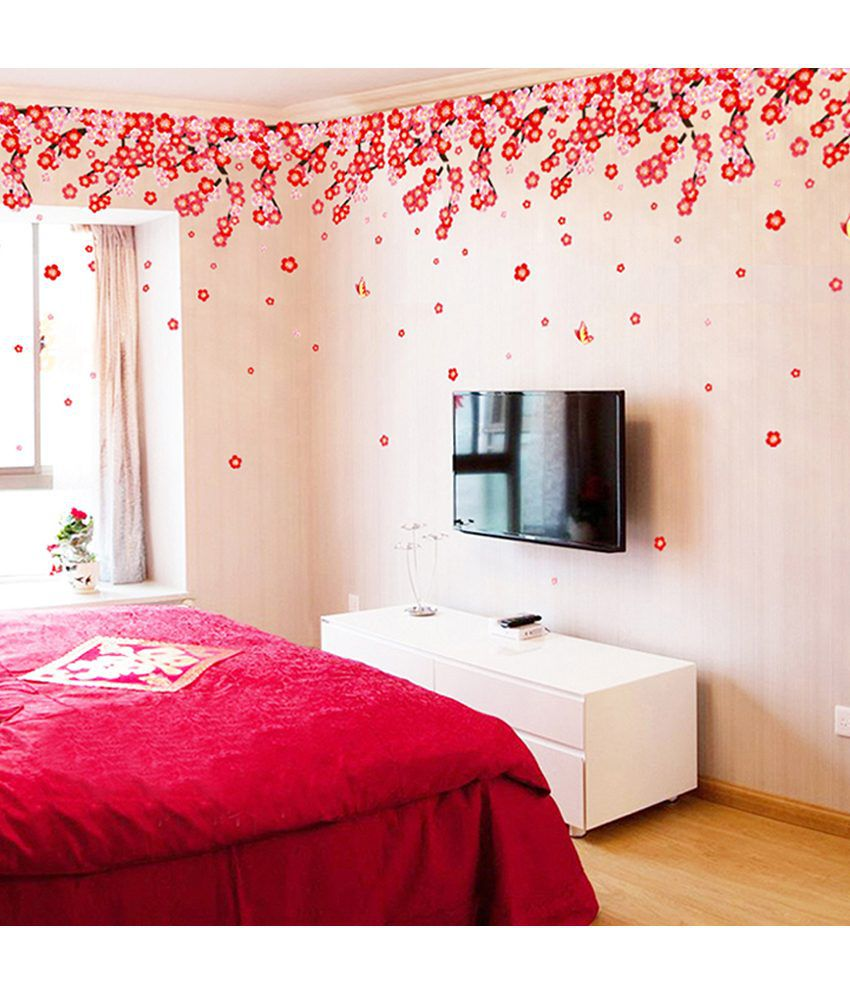 StickersKart Flowers U0026 Trees PVC Multicolour Wall Stickers ... Part 42