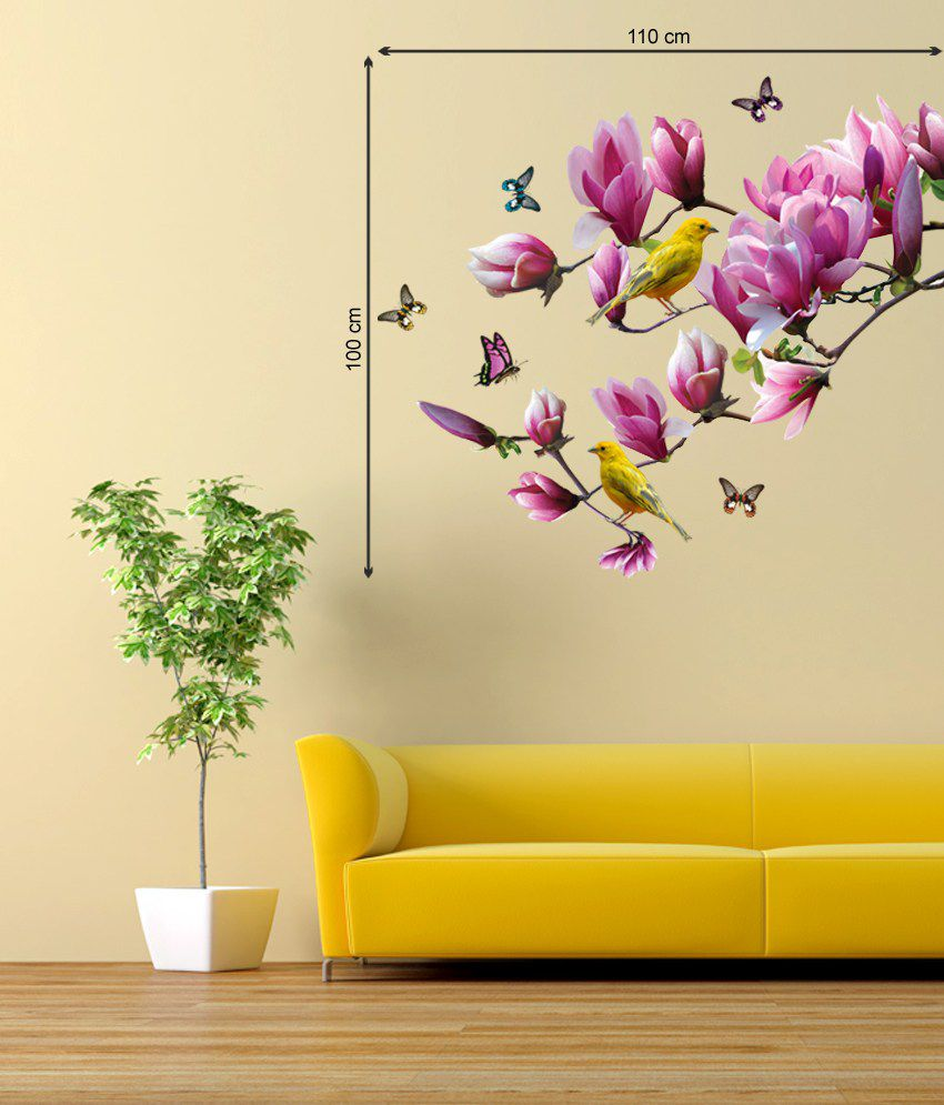 Stickerskart Pink and Yellow Vinyl Floral Lovely Magnolia Branch ...