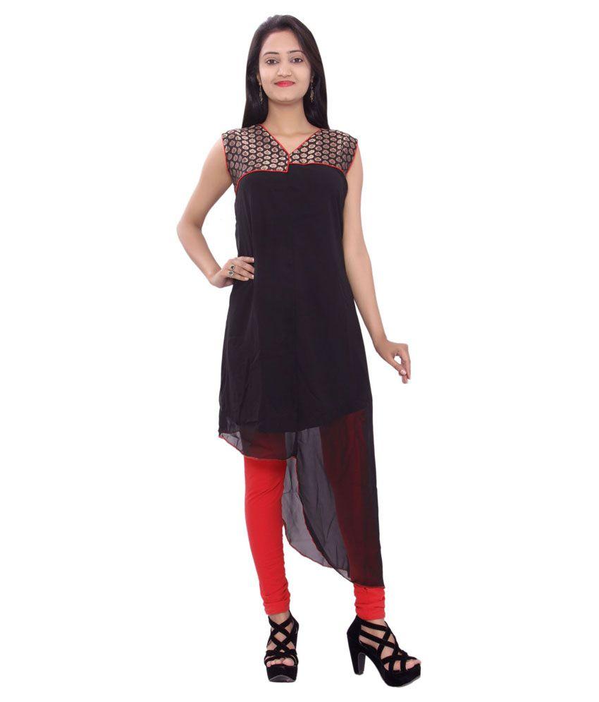 Wardrobe Designs Black A - Line Pure Georgette Kurti