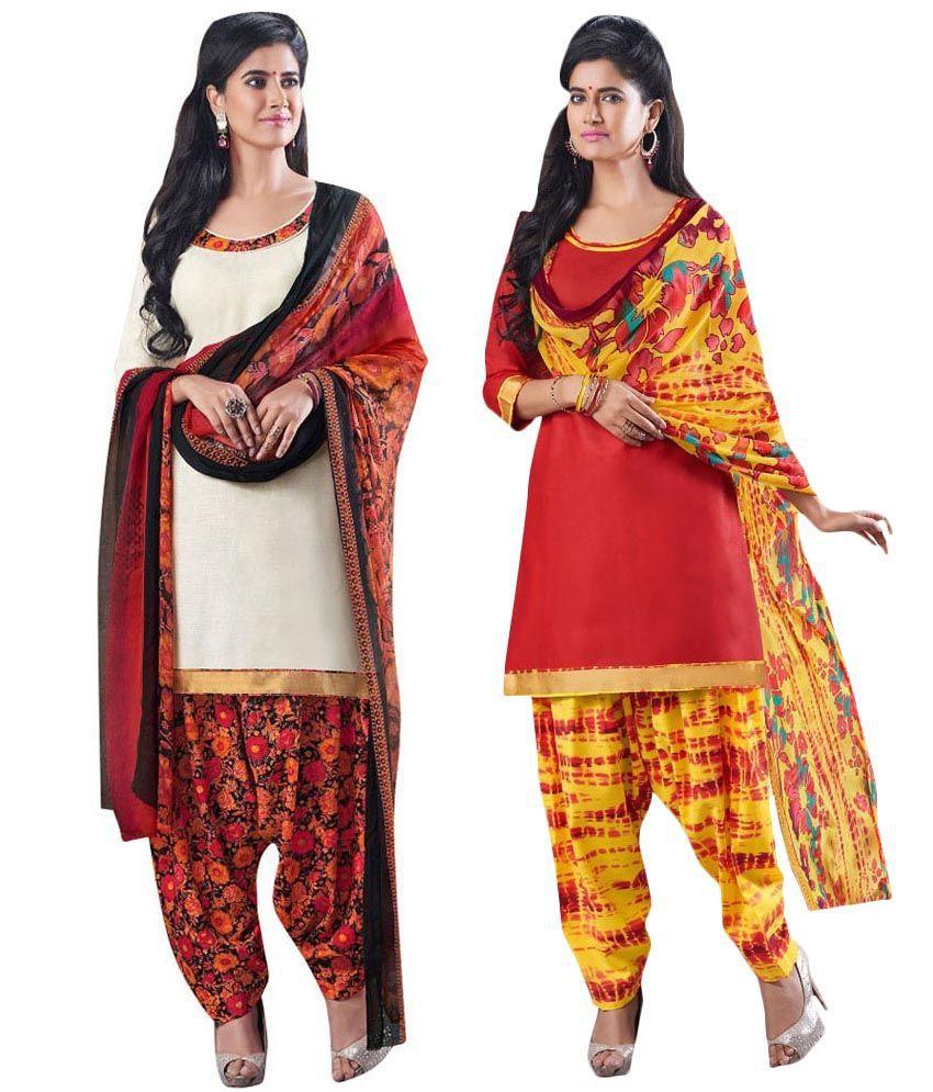 Amelliaz Multi Color Cotton Unstitched Dress Material