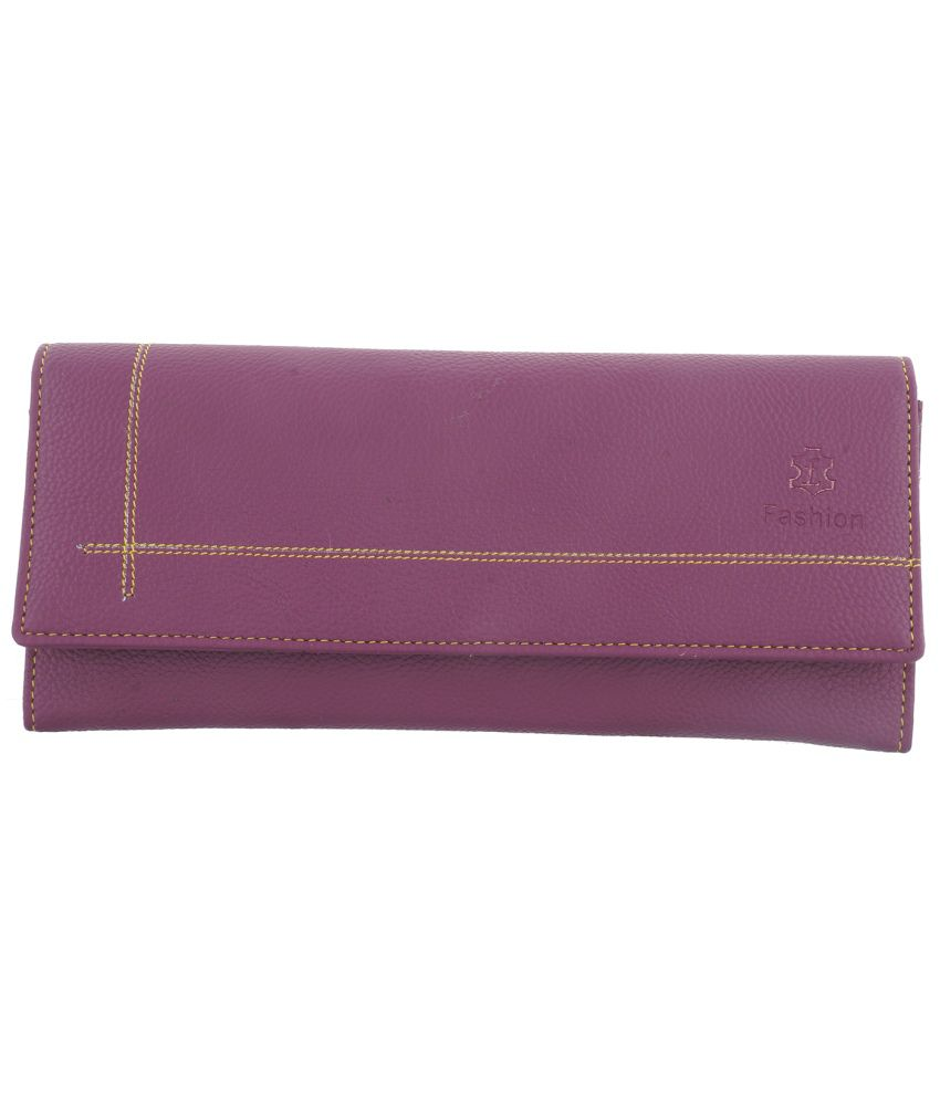 Fashion Leather Purple Leather Long Wallet For Women