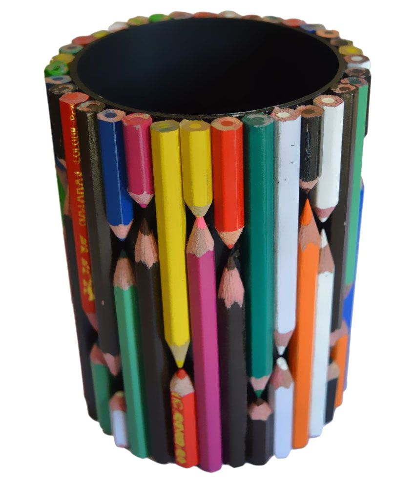 Happy handicraft workshop multicolor recycle pen stand for Waste material handicraft