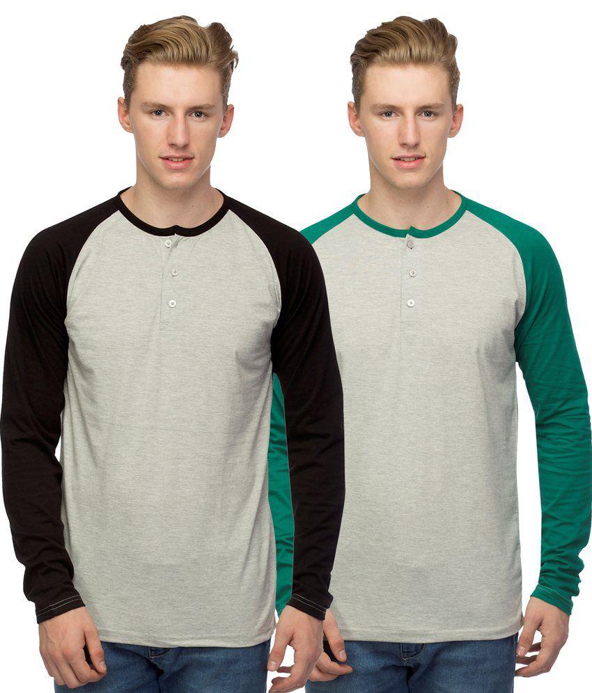 Martech Grey Henley Neck T-shirt - Set Of 2