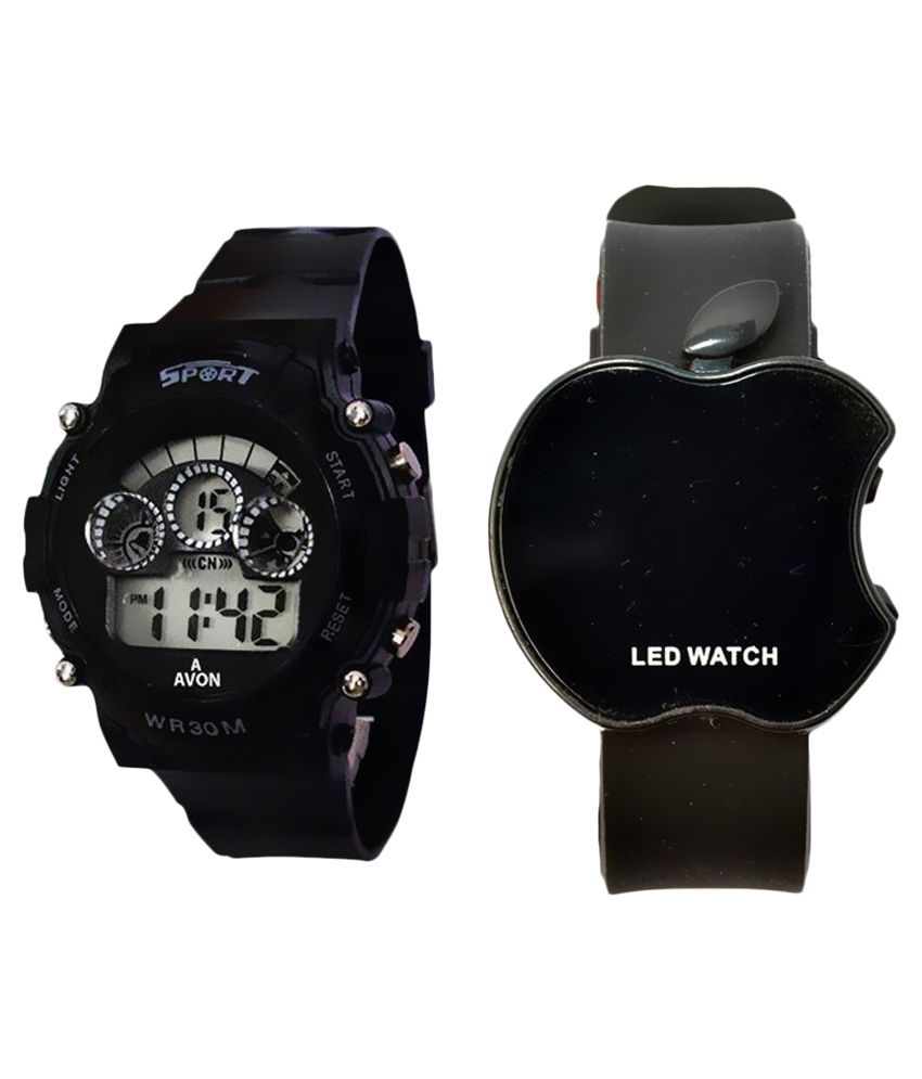 Satnam Fashion Black Digital Kids Sports Watch - Pack of 2
