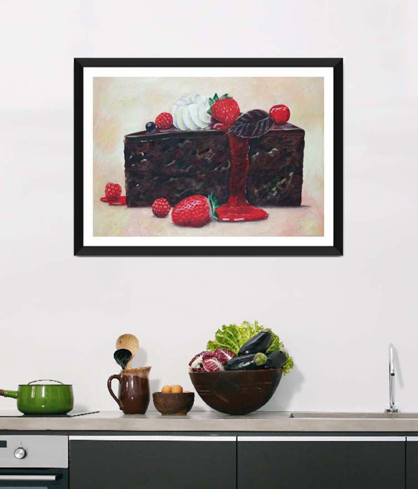 Tallenge Medium Brown Art For Kitchen Creamy & Juicy Pastry Framed Art Print