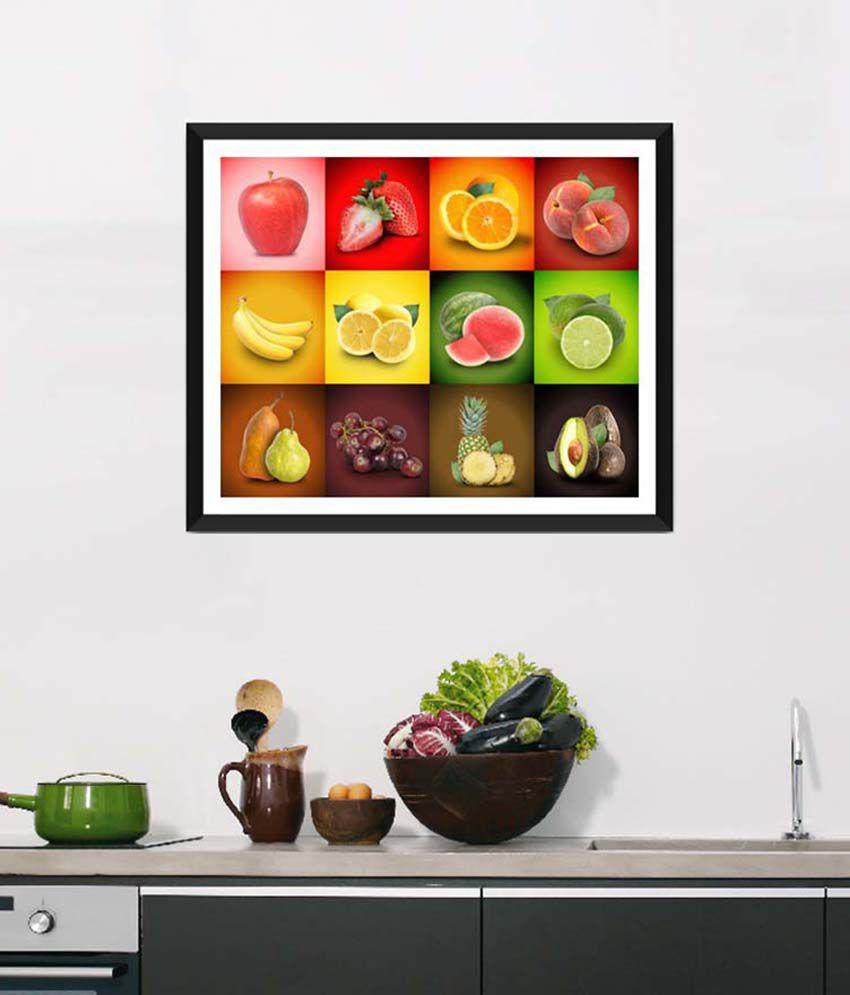 Tallenge Medium Red Art For Kitchen Freshness Of Life Framed Art Print