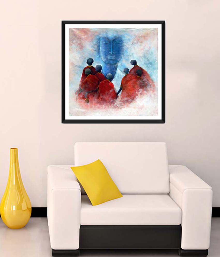 Tallenge Medium Red Buddha With Disciples Framed Art Print