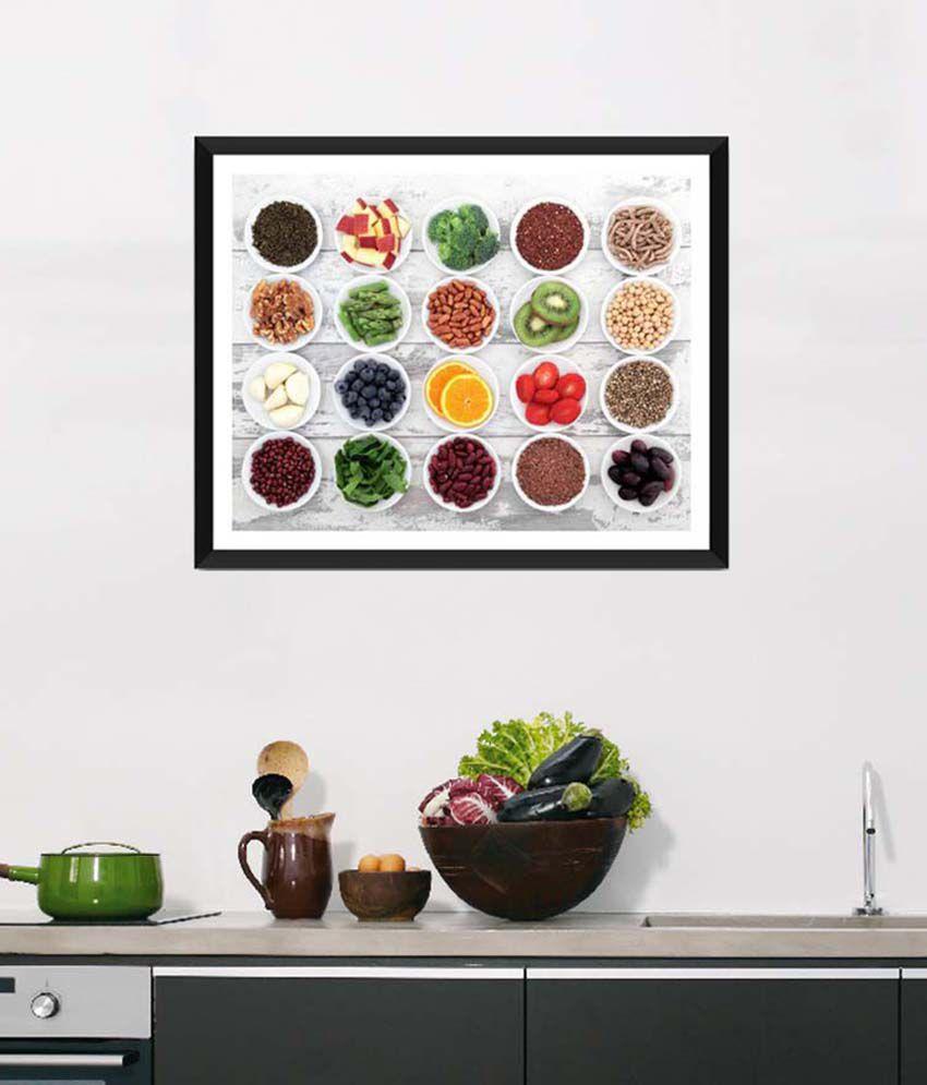 Tallenge Medium White Art For Kitchen Fresh, Nutritious & Healthy Framed Art Print