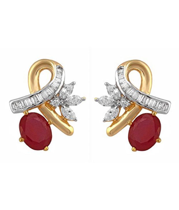 Affinity Ish High Quality Cz Stones Pendant With Earrings Gold Plated