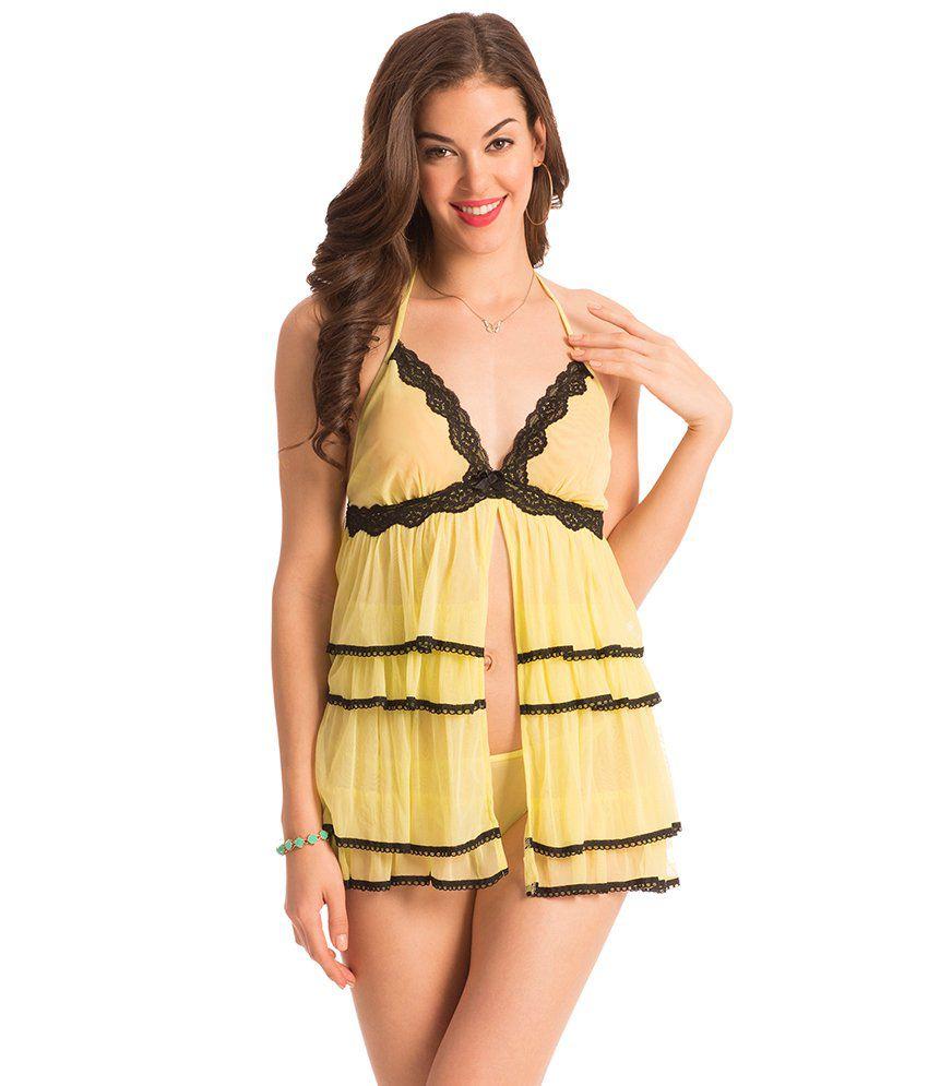 PrettySecrets Yellow Sheer Baby Doll Dress