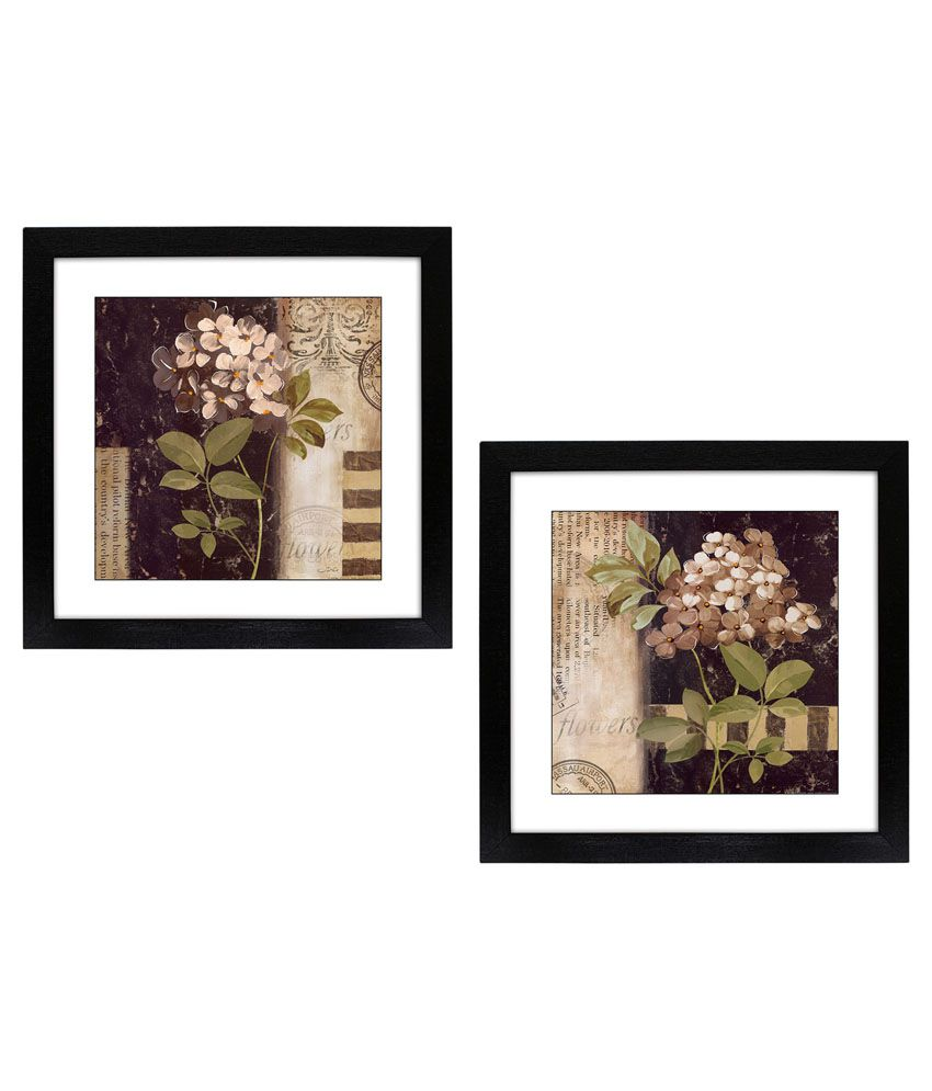 Delight Flower Painting With Wooden Frame - Set Of 2