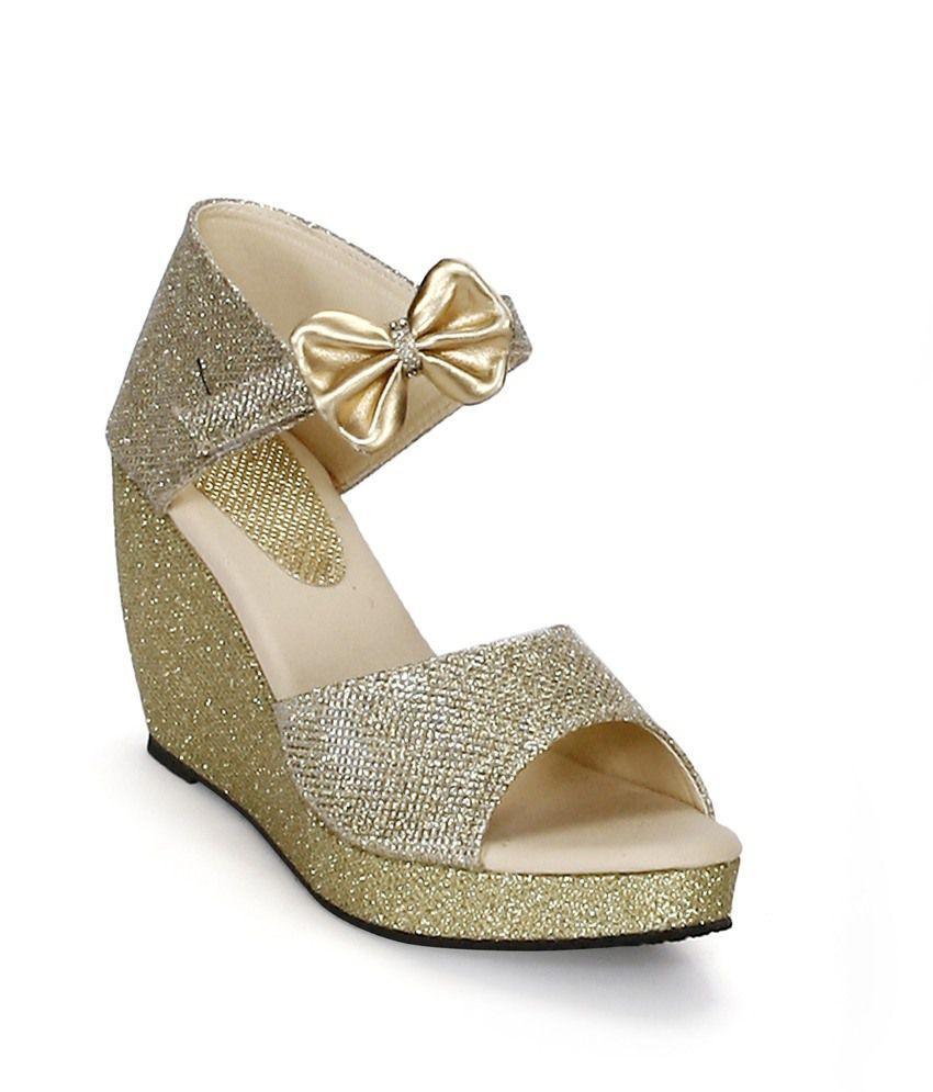 Tic Tac Toe Gold Wedges Heeled Slip-on & Pump