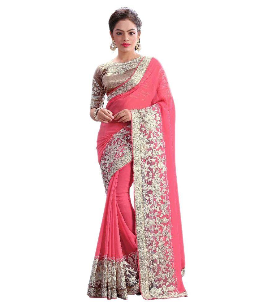 ... Designer Saree Pink Georgette Saree Online at Low Price - Snapdeal.com