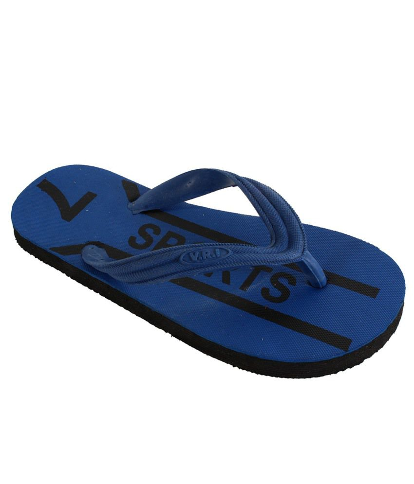 Vri Blue Slippers & Flip Flops