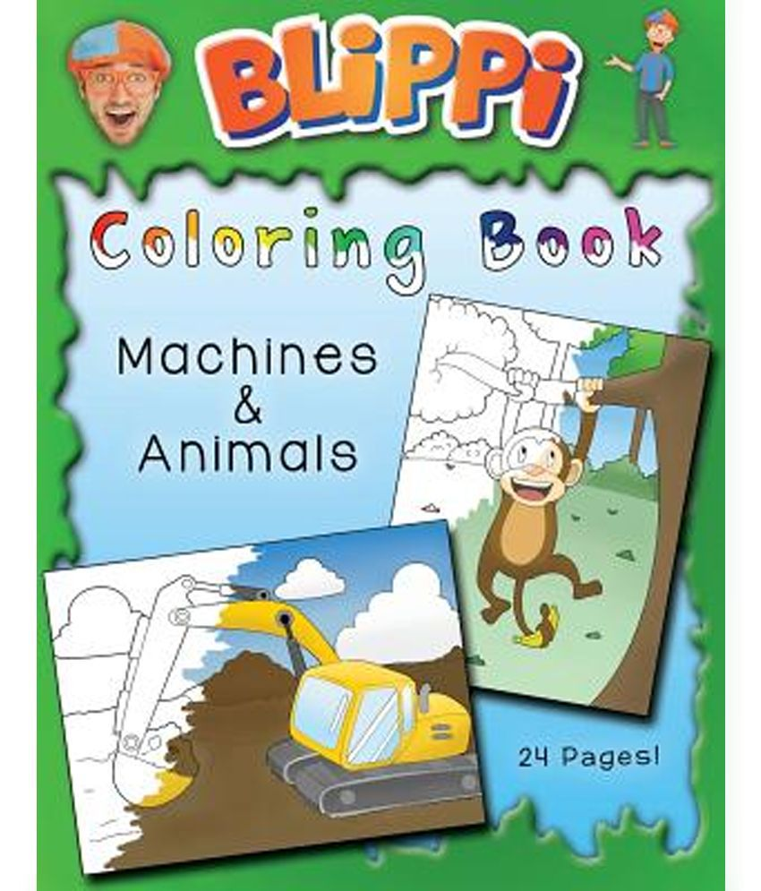 blippi coloring book animals u0026 machines buy blippi coloring book