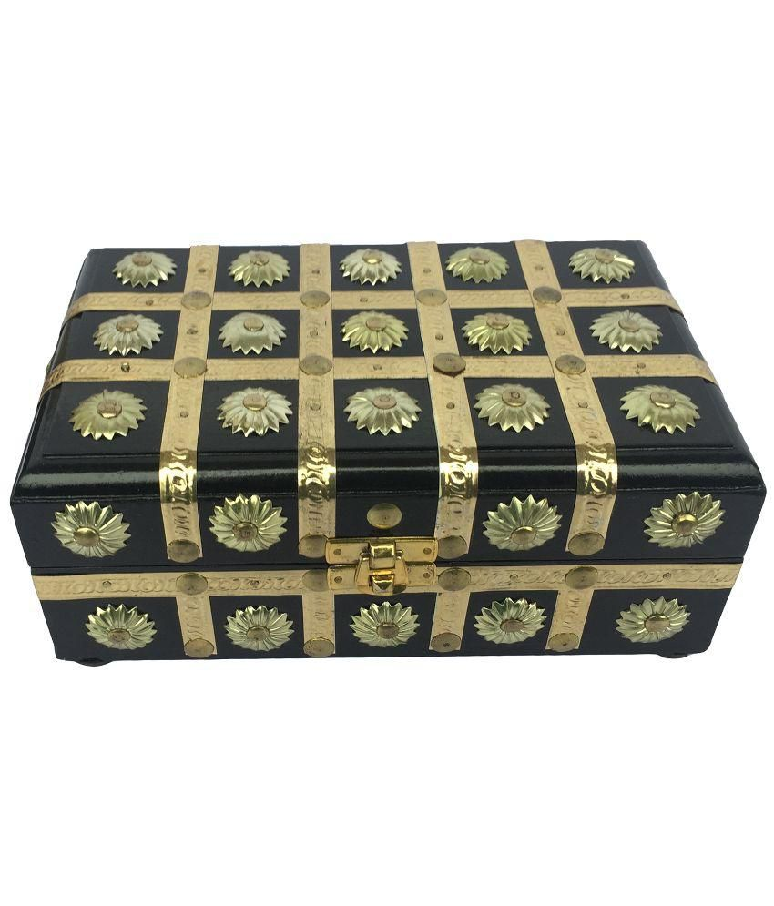 Craft Art India Handmade Small Wooden Jewellery /Accessories Storage Box With Embossed Brass Design