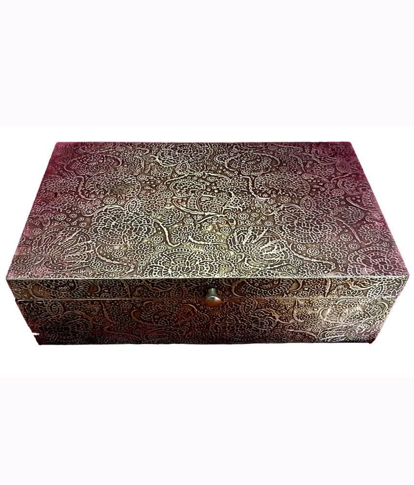 Shilpacharya Handicrafts Brown Wooden Jewellery Box
