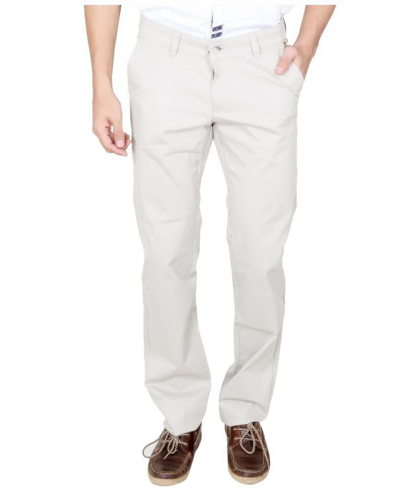 The Real Indians White Slim Fit Flat Trousers